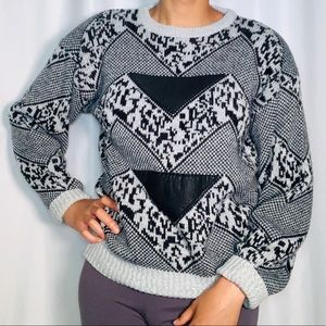 Vintage Gray & Black Sweater with Leather Patches